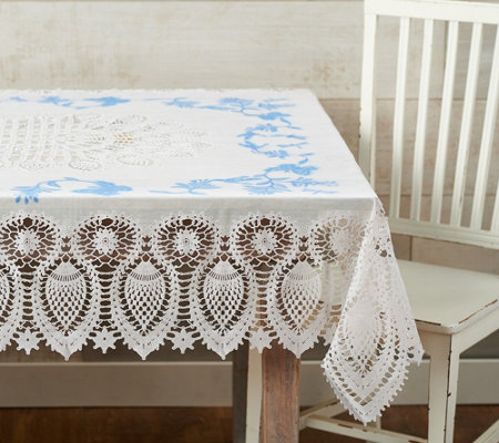 As Is Barbara King 59 X 102 Indoor Outdoor Faux Lace Tablecloth