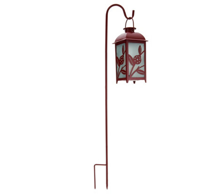 Compass Home Solar Glass Lantern w/ Shepherds Hook