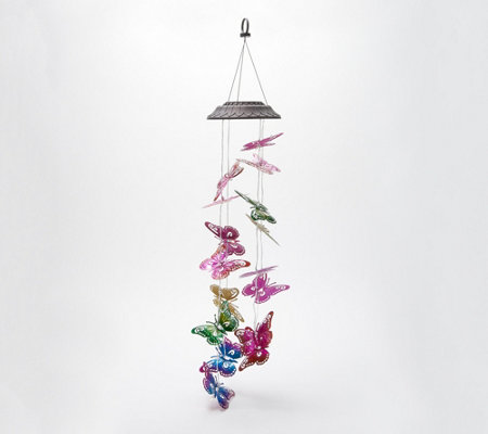 Plow Hearth Hanging Solar Metal Butterfly Mobile
