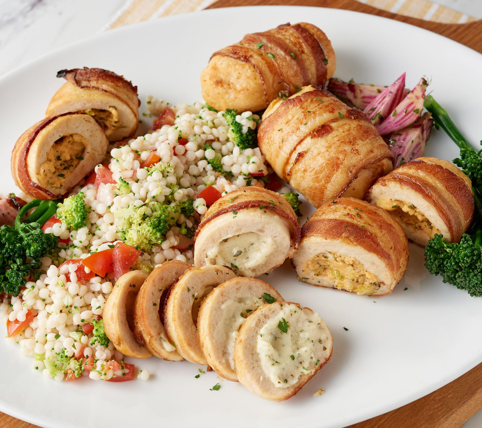 Real Good Foods 8 6 Oz Bacon Wrapped Stuffed Chicken Qvc Com