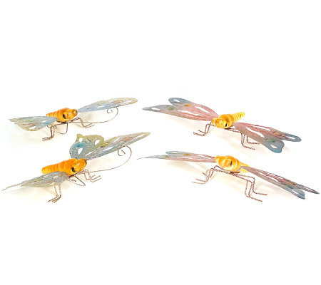4 Piece Butterfly And Dragonfly Solar Powered Garden Lights