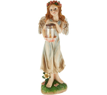 Solar Resin Angel with Firefly Jar Statue