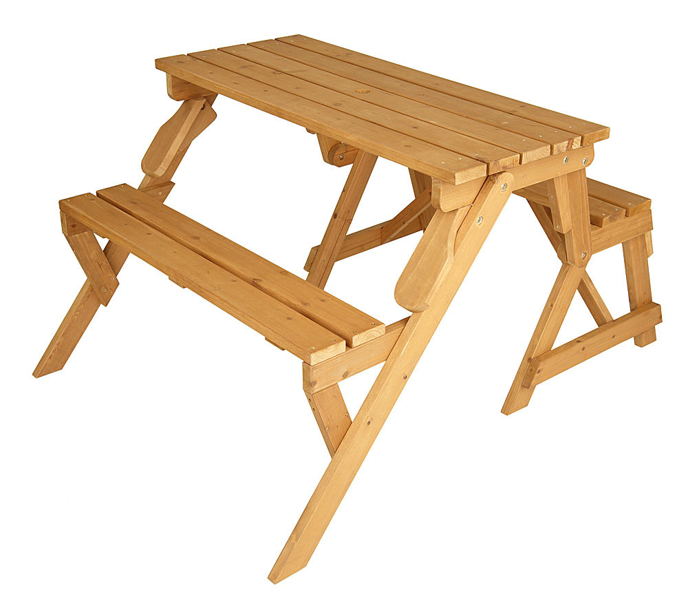 Solid Wood 2 In 1 Picnic Table Garden Bench Page 1 Qvc Com