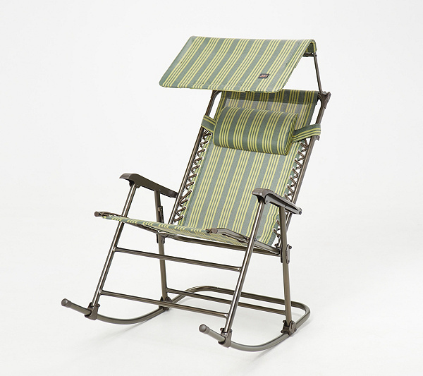 Tremendous Bliss Hammocks Foldable Rocking Chair With Headrest And Canopy Qvc Com Creativecarmelina Interior Chair Design Creativecarmelinacom