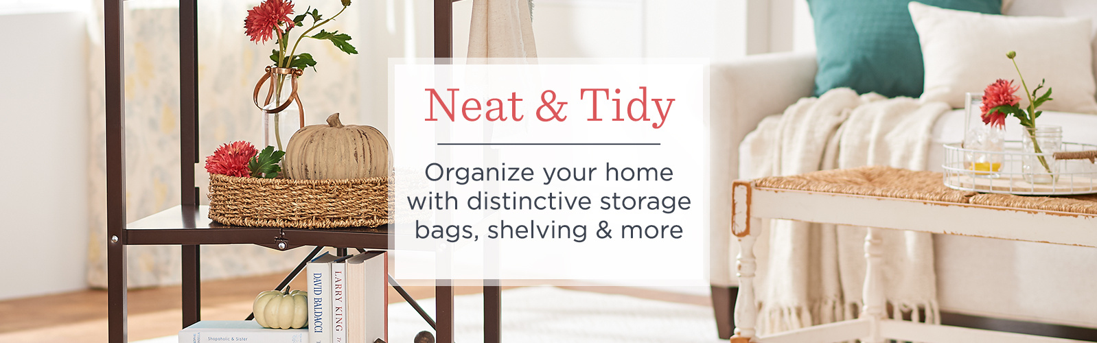 Neat & Tidy. Organize your home with distinctive storage bags, shelving & more