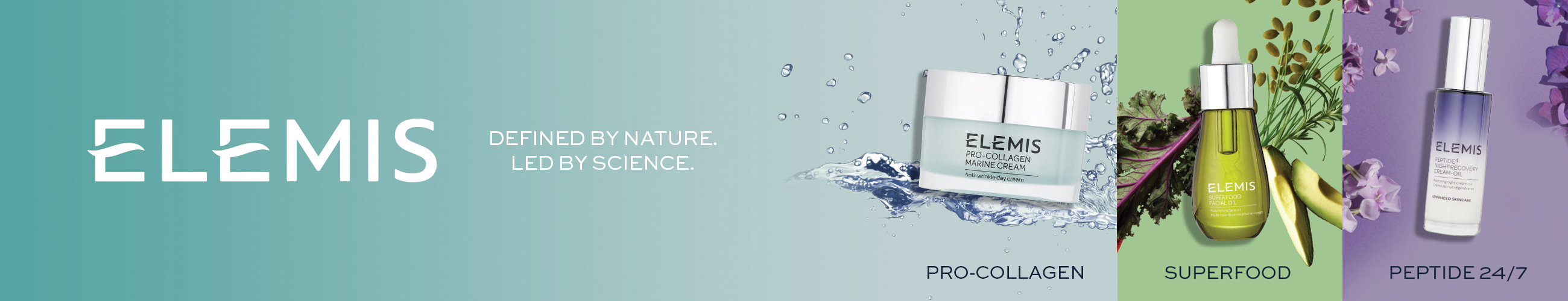ELEMIS.  Defined by nature. Led by science.
