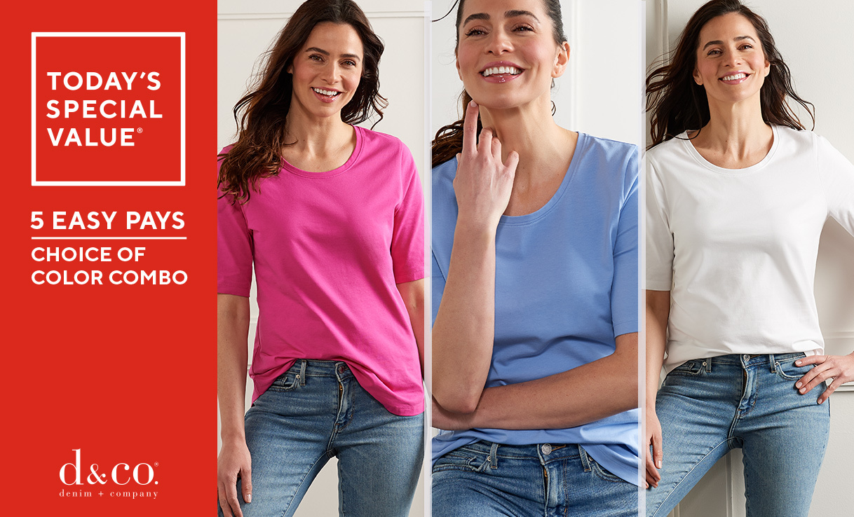Today's Special Value® Denim & Co. Essentials AnyWear Jersey Set of Three Tops - 5 Easy Pays - Choice of Color Combo