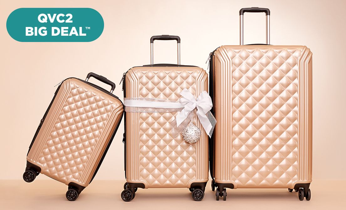 Samantha Brown Luggage Qvc: Triforce 3Pc Hardside Spinner Luggage Set
