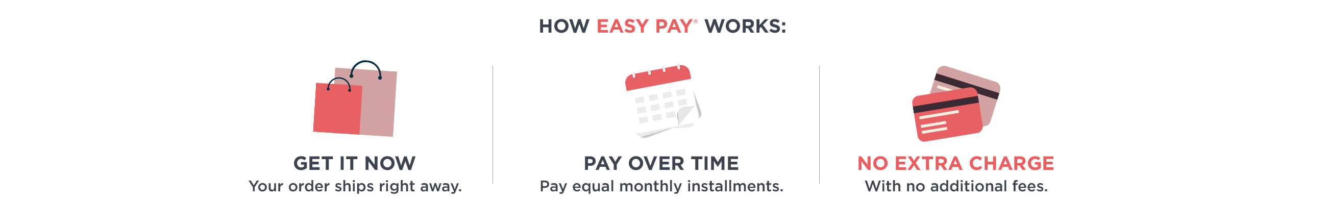 How Easy Pay Works: Get It Now - Your order ships right away. Pay Over Time - Pay equal monthly installments. No Extra Charge- With no additional fees