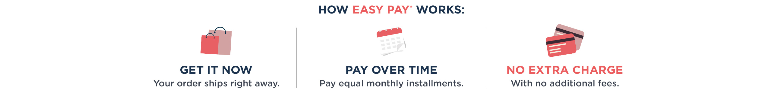 HOW EASY PAY® WORKS — GET IT NOW: Your order ships right away. — PAY OVER TIME: Pay equal monthly installments. — NO EXTRA CHARGE: With no additional fees.