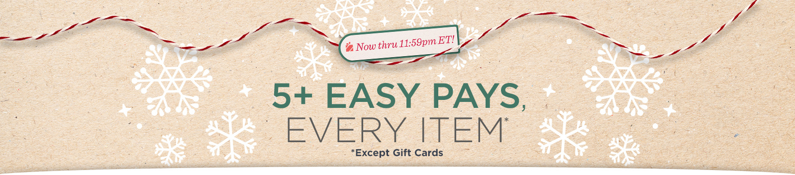 Now thru 11:59pm ET! 5+ Easy Pays, Every Item* *Except Gift Cards