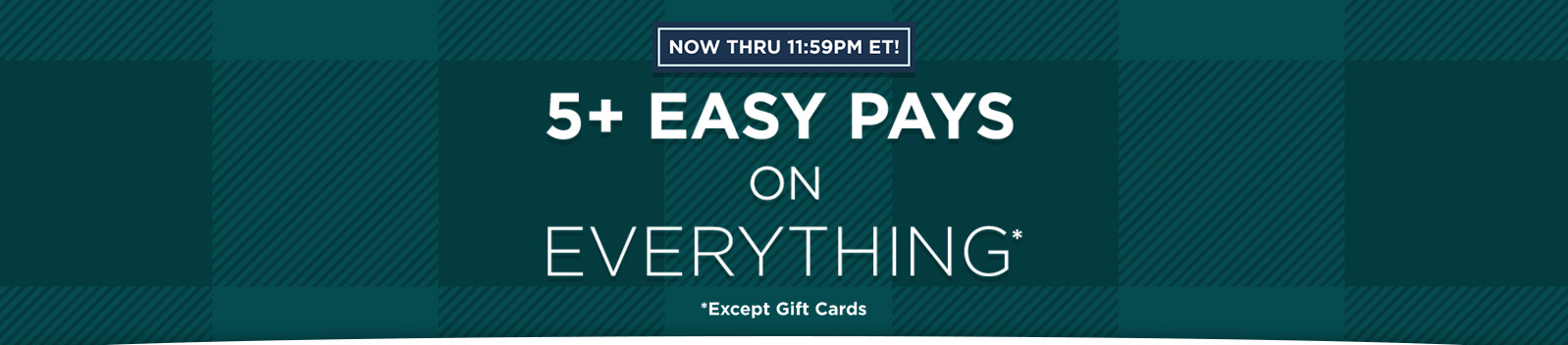 Now thru 11:59pm ET! 5+ Easy Pays on Everything Except Gift Cards