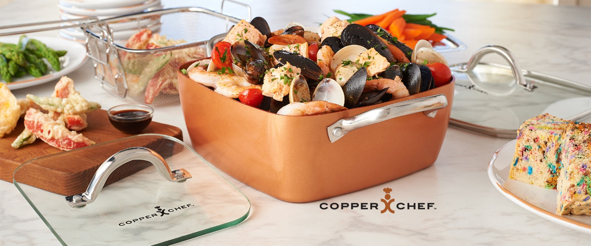 Qvc Copper Chef 9 5 Quot Square Pan With 5 Piece Cooking
