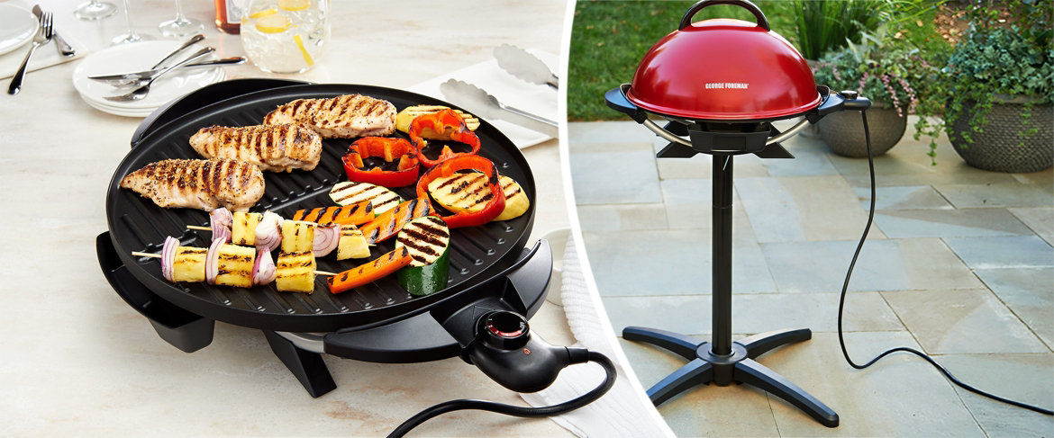 george foreman 15-serving indoor/outdoor electric grill