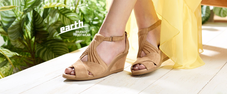 QVC) Earth Suede Peep-toe Wedge Sandals