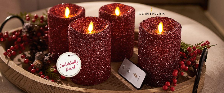 (QVC) Luminara 4 pc Vintage Glitter Flameless Pillar ...
