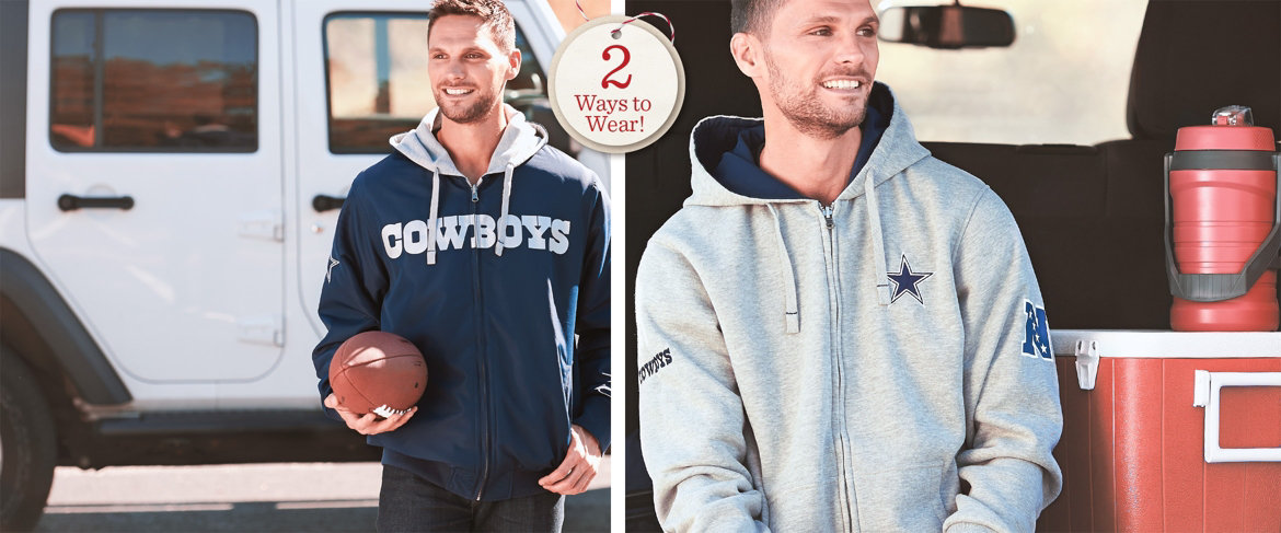 online retailer 3a767 3c5f2 QVC) NFL Reversible Hoodie and Jacket in Team Colors ...