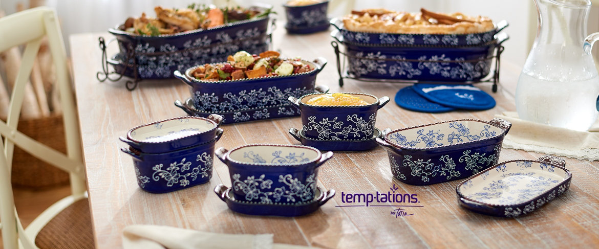 QVC) Temp-tations Floral Lace or Old World 21-Piece Bakeware Set ...