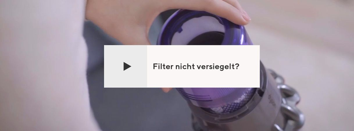 Filter nicht versiegelt