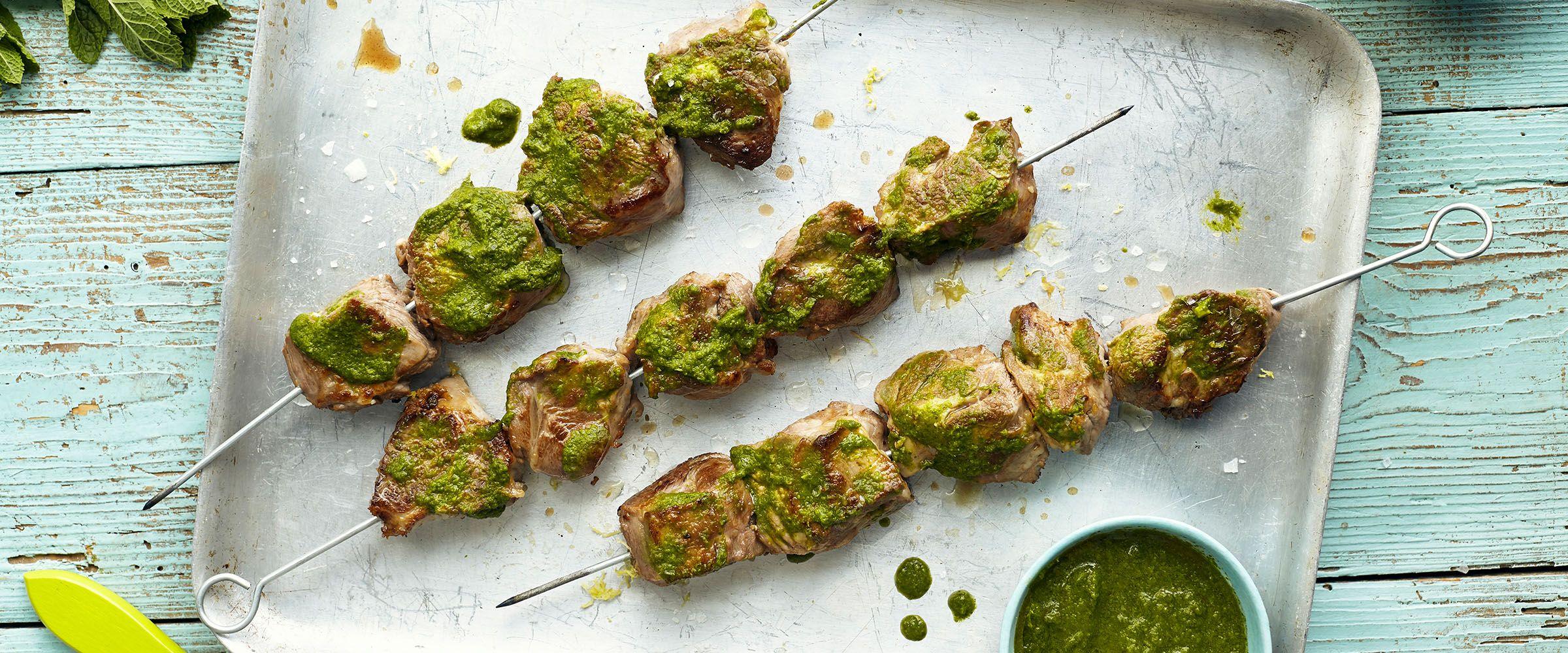 Zesty lamb kebabs