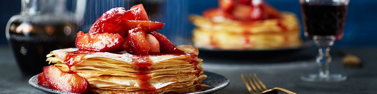 Plum and spiced apple pancakes