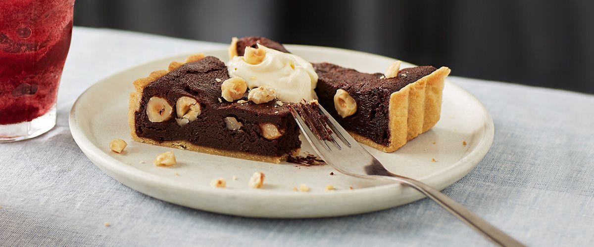 Chocolate and hazelnut tart