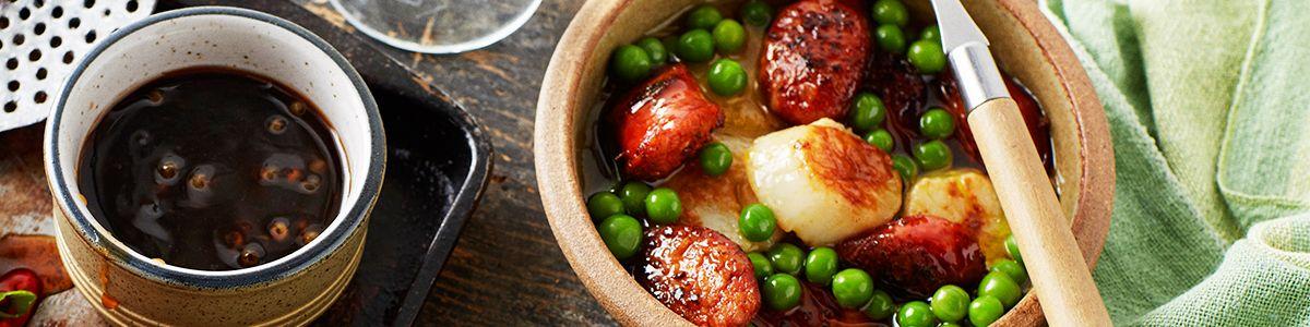 Seared scallops, chorizo and peas