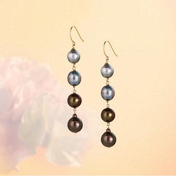 Semi Baroque Tahitian Pearl Drop Earrings