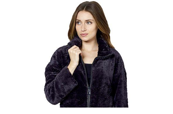 Centigrade faux astrakhan fur zip up jacket