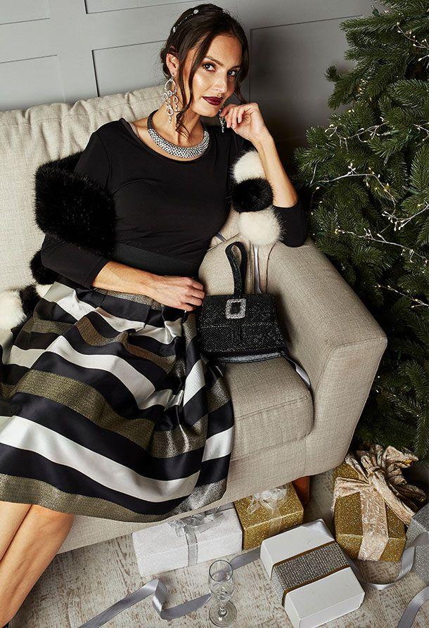 Ronni Nicole Striped Taffeta Party Skirt