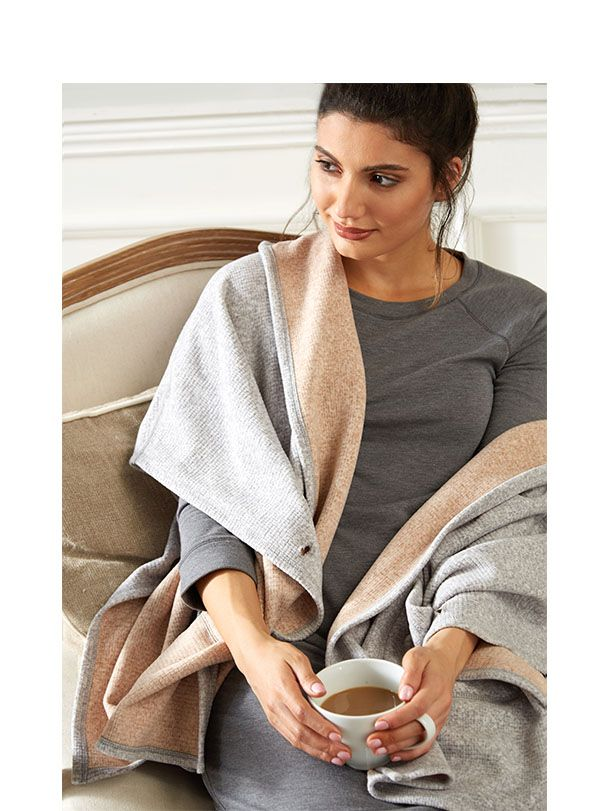 Cuddl Duds Reversible Open Hooded Wrap