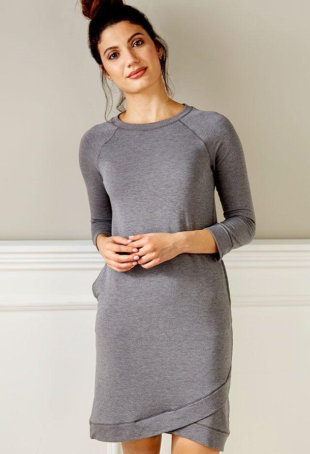 Cuddl Duds Comfortwear 3/4 Sleeve Wrap Hem Detail Lounge Dress