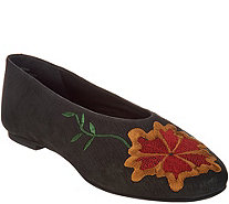 Seychelles Floral Embroidered Ballerina Flats - Campfire - S9236