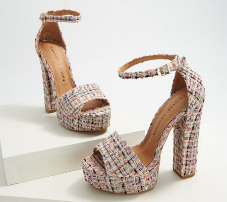 Chinese Laundry Ankle Strap Tweed Platform Sandal - Avenue