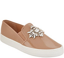 Badgley Mischka Jeweled Patent Slip-on Sneakers - Barre - S9096