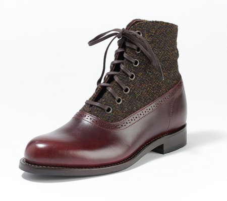 Wolverine Leather & Tweed Lace-Up Ankle Boot - Marcelle