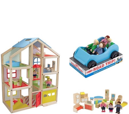 Melissa & Doug High-Rise Dollhouse and Car Bundle