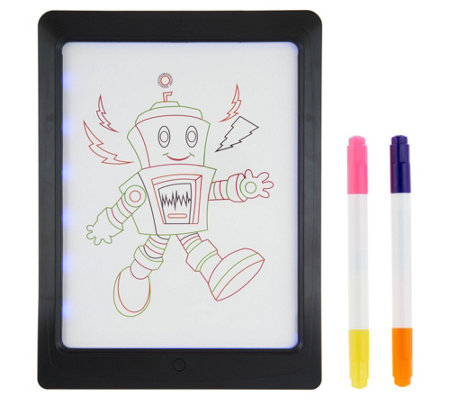 "GlowPad XL 8""x11"" Pad w/ 4 Neon Markers and 8 LED Light Modes"