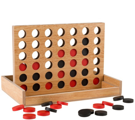 Hey! Play! Classic Wooden Four-in-a-Row Game