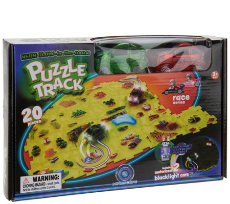 Puzzle Tracks 20-Pc Glow- In-the-Dark Track Set with 2 Cars