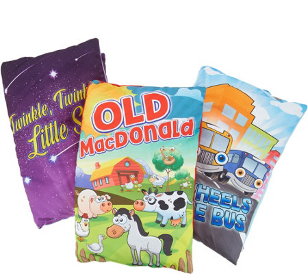 Set of 3 Storybook Plush Pillow Children's Read Along Classics