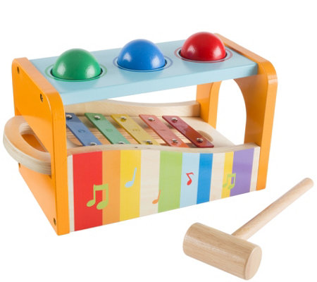 Hey! Play! Wooden Bench Toy with Musical Xylophone