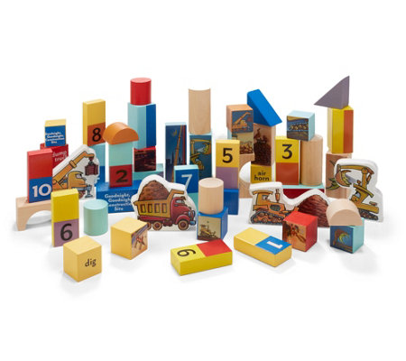 Good Night Construction Site 50 Piece Wood Block Set