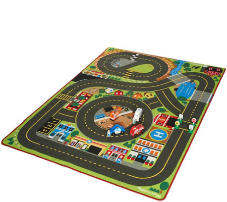 Melissa & Doug Jumbo Roadway Activity Rug with Emergency Vehicle Bundle