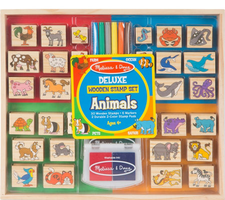 Melissa Doug Deluxe Wooden Stamp Set Animals