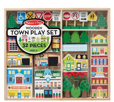 Melissa Doug Wooden Town Play Set