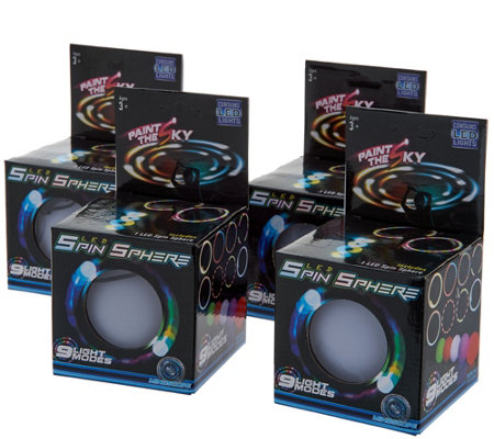 Set of 4 LED Light Up Poi Balls w/9 Light Settings & String