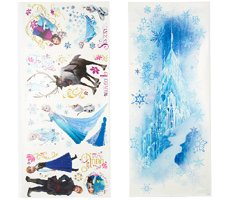 Disneyu0027s Frozen Reusable Peel U0026 Stick Wall Decal Combo Set