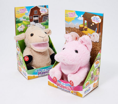Set of 2 Farm Animal Singing Hand Puppets