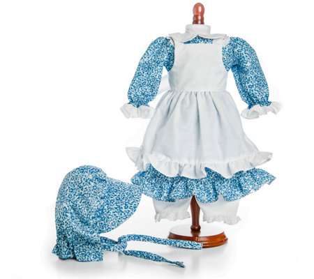 The Queen S Treasures 18 Doll Little House Blue Calico Dress